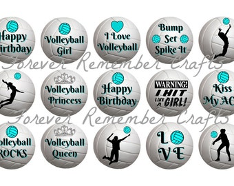 INSTANT DOWNLOAD Volleyball Birthday Party 1 Inch Bottle Cap Image Sheets *Digital Image* 4x6 Sheet With 15 Images