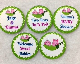 Set of 50/100/150/200 Personalized Two Peas In A Pod Boy & Girl Twins Baby Shower  1 Inch Confetti Circles