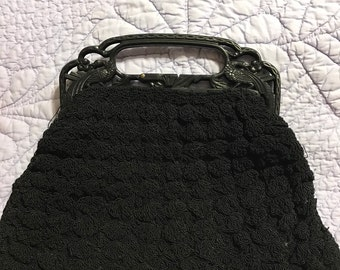 Antique black popcorn crochet purse with celluloid frame