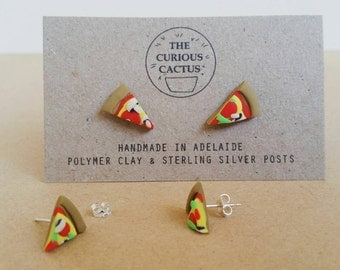 Pizza Slice Studs - Kawaii Food Polymer Clay Sterling Silver Earrings