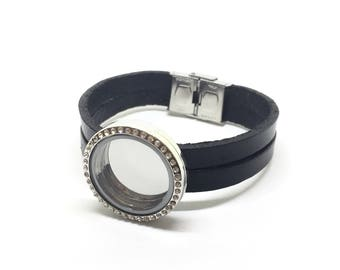 Floating bracelet, leather, for charms