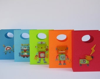10 Robot Favor Bags - Gears Embossed - Robot Party Favor Bags – Robot Birthday Gift Bags – Robot Goody Bag – Robot Party Treat Bag