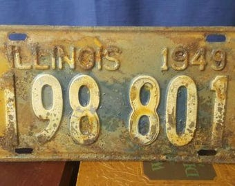 1949 Illinois License Plate Beautiful Color/Patina Vintage Rustic Decor