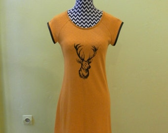 Hemp/organic cotton patterned tunic deer-handmade