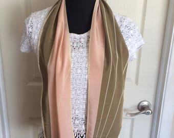 Vintage Beautiful Vera Neumann Scarf with a Pink and Brown Striped Pattern Bias Pointed Ends  1980s - FREE SHIPPING EVERYWHERE
