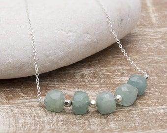 Aquamarine Necklace/Natural Aqaumarine Stone Necklace/Aquamarine Row Necklace/March Birthstone