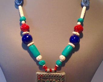 Ethnic African Green ceramic necklace