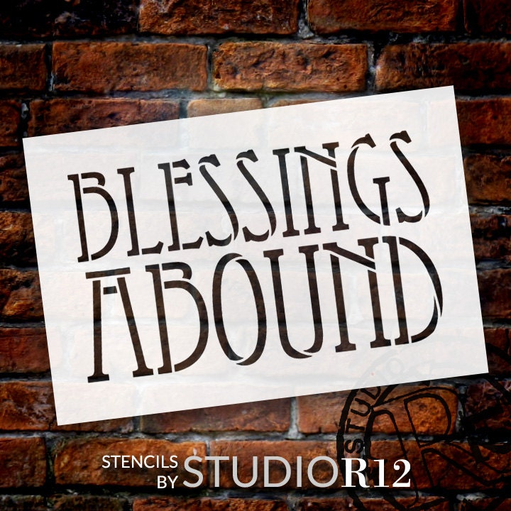 Blessings abound arts crafts style word stencil for Arts and crafts stencils craftsman