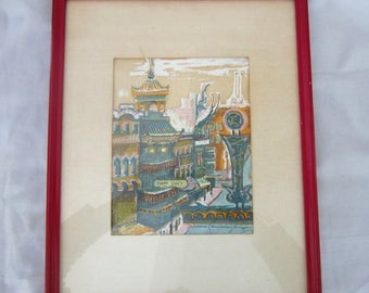 Signed Marion Cunningham Silkscreen Serigraph of Chinatown, 1944 San Francisco 376/1000