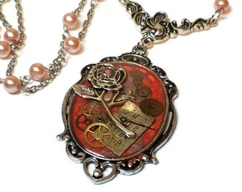 Steampunk rose Necklace for Valentines Day Gift Ideas, Vintage Style, Steampunk Romance Pendant Necklace