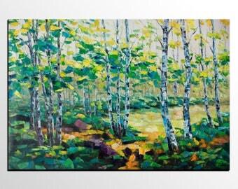 Large Oil Painting, Forest Tree Landscape, Original Art, Canvas Art, Large Art, Abstract Wall Art, Modern Abstract Art, Living Room Wall Art