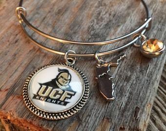 UCF Knights adjustable bracelet bangle, expandable bangle, stackable bracelet bangle, Knights,Stainless steel, University of Central Florida