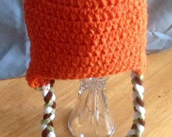 Crocheted Pumpkin Hat with Stem & Leaves/Baby/Girls/Boys