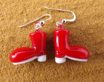 Christmas boot earrings, fun earrings, red boot earrings, santa earring, quirky earrings, Xmas boot earrings, festive earrings