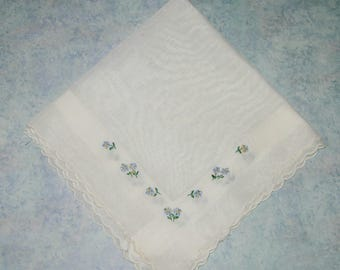 Vintage Floral Hankie, White With Small Blue Flowers