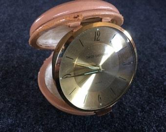 Vintage Swiza Sheffield travel alarm clock in  leather case