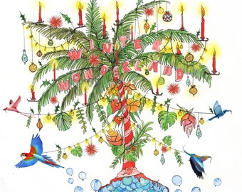 5 Tropical palm tree Christmas card - Pack of 5 cards