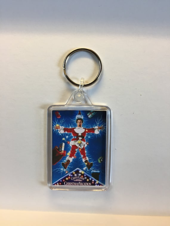 Christmas Movies National Lampoon's Christmas Vacation Keyring Keychain available in Red Blue or Clear connectors