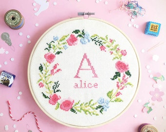 Baby Cross stitch pattern - Floral wreath with Alphabet , modern initial cross stitch , counted floral cross stitch chart , baby nursery