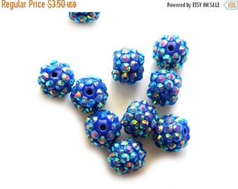 HALF PRICE 10 Blue Rhinestone Disco Ball Beads 12mm