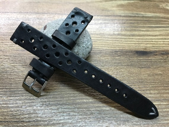 Handmade Leather watch strap, Pure Black Leather watch band, Racing Strap, Rally Leather Watch strap for Rolex - 18mm/19mm/20mm lug width