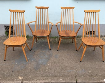 SOLD: Set of Four 1960s Ercol Goldsmith Dining Chairs. Vintage/Retro/Mid Century.