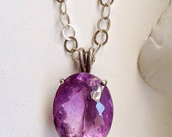 Amethyst Pendant, Sterling Silver Amethyst Pendant, Vintage Pendant, Semi Precious Stone Necklace, Vintage Jewelry, Sterling Silver Pendant