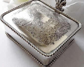 For Her, Silver Trinket Box, Vintage Jewelry Box, Silverplated Box, Silver Collectable  Box, Silver Jewelry Box, Square Silver Box
