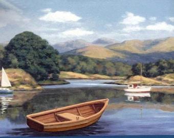 Lake Brown Boat AG42222 Wallpaper Border
