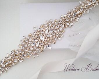 Wedding Belt, Crystal Bridal Belt, Bridal Sash, Beaded Wedding Belt, Gold, Rose Gold, Silver - Style 782