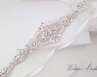 Wedding Belt, Beaded Bridal Sash, Crystal Wedding Belt, Bridal, Bridesmaid, Flower Girl Sash - Style 787