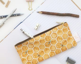 Bee, Pouch, Pencil Case, Bee Print, Pencil Pouch, Small Bag, Cosmetic Bag, Honey, Mustard, Make Up Bag, Organiser, Hexagon, Clutch Bag, Bag,