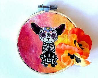 Sugar skull puppy painted embroidery hoop decor