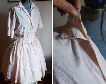 Medium - Light Pink Full Skirt Vintage Dress