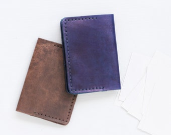 Vegtan leather business card cases in royal blue and rustic brown ( Bigger Size Card Case)