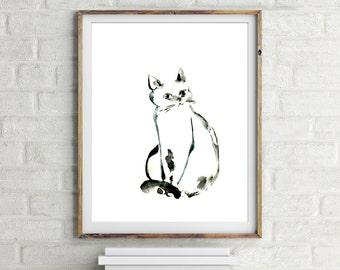 Minimalist Print of Cat, black and white art print, cat painting print, painting of cat, cat art