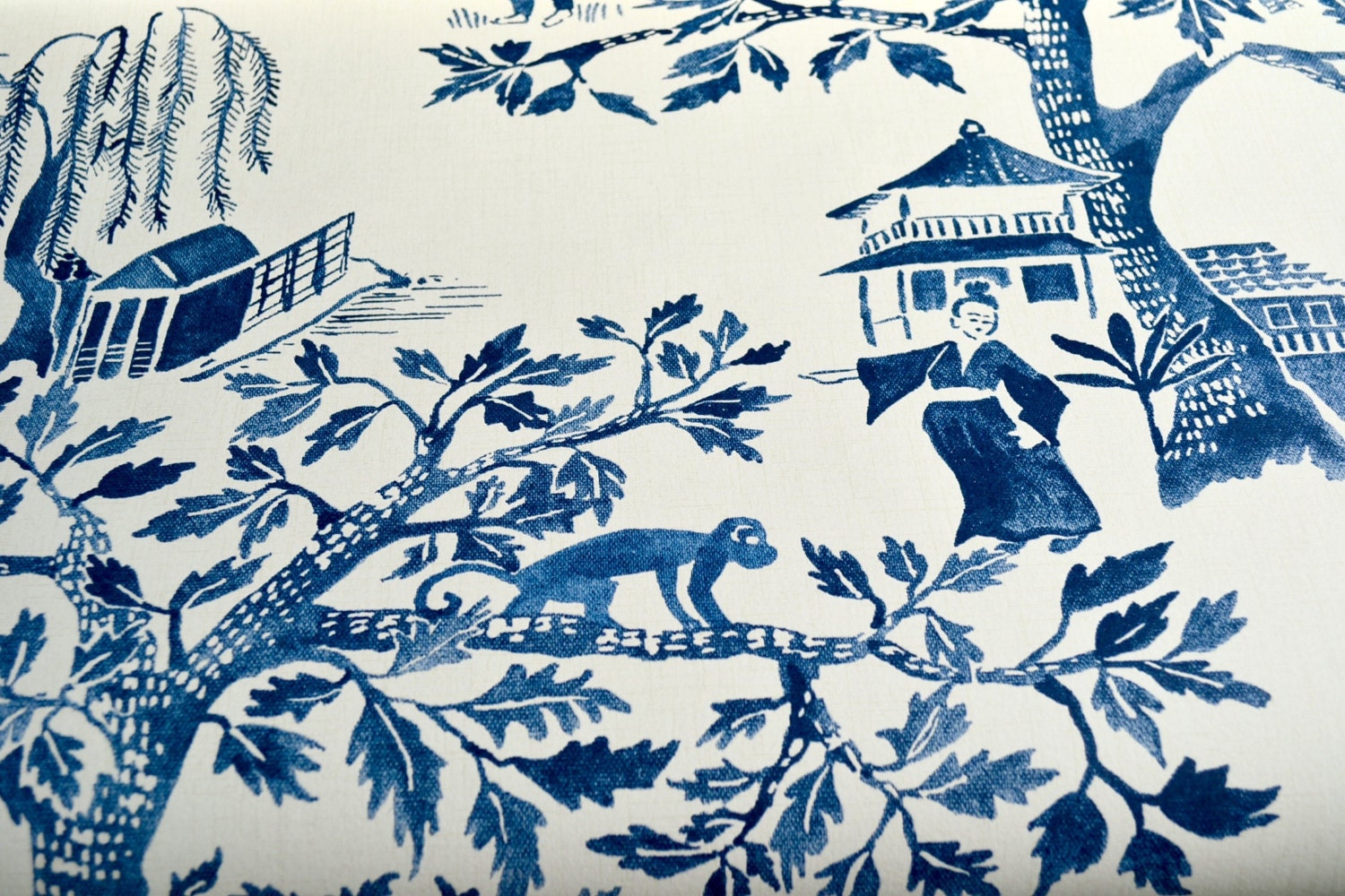 Blue and white toile curtains