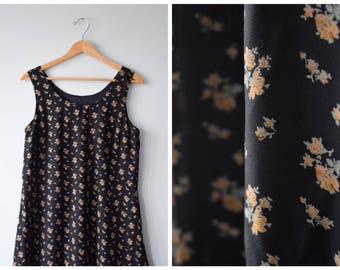 90s black floral babydoll dress, size S/M/L