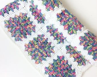 Crochet Granny Square Cotton Blanket