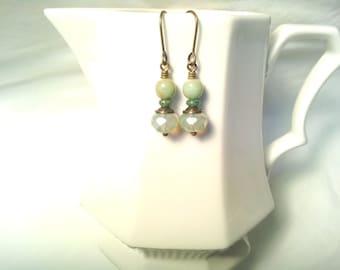 Vintage Look Czech Bead Earrings Turquoise Mint Dangles Mint Earrings Turquoise Earrings Urban Classic Feminine Light Gift