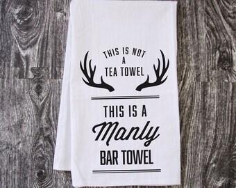 Manly Bar Towel - Hand Pulled Screen Printed Tea Towel