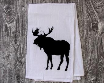 Moose Silhouette - Hand Pulled Screen Printed Bar Towel