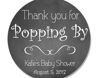 Personalized Thank You for Popping By Baby Shower Favor Stickers - Popcorn Favor Labels - Shower Favor Tags - Buy 3 Get 1 Free