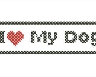 BOGO FREE!  - I Love DOG- cross stitch pdf Pattern - pdf pattern instant download #180