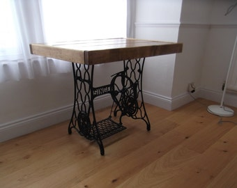 rustic dining table with vintage singer sewing machine treadlehandmade from reclaimed timber finished in - Kitchen Table Sewing