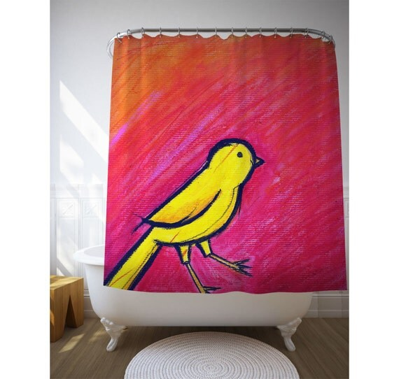 Bird Shower Curtain, Yellow Bird, Animal Lover Gift, Red And Yellow, Kids Bath Decor, Kids Shower Art