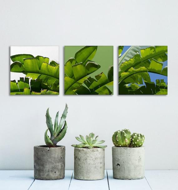 Banana Leaf Canvas, Set of 3 Prints, Tropical Wall Art, Tropical Decor, Green Wall Canvas, Banana Tree Art, Affordable Wall Art