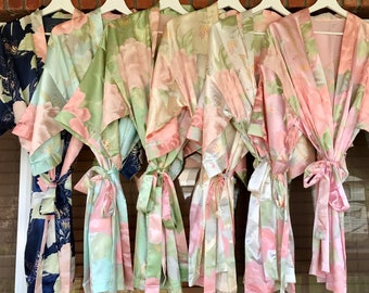 Floral Robes, Bridesmaid Robes, Custom Floral Robes, Monogrammed Robes, Bridal Party Robes, Robes with titles, Bridal Robes, satin floral