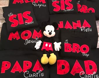 Disney Family Shirts   Mickey Mouse   Name   Sweaters   Big Little Baby   Brother Sister Mom Dad   Embroidered   Vacation   Baby Shower