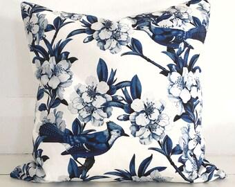 Bluejays & blossom navy blue cushion cover - designer cushion 50 x 50 cm - FREE SHIPPING Australia wide